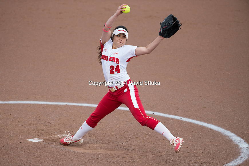Wisconsin Badgers Taylor-Paige Stewart (24) pitches the ball during the 2nd game of a double-header during an NCAA softball game against North Dakota Wednesday, April 9, 2014, in Madison, Wis. (Photo by David Stluka)