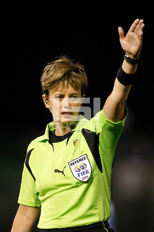 Referee Kari Seitz. Sky Blue FC and FC Gold Pride played to a 1-1 tie during a Women's Professional Soccer match at TD Bank Ballpark in Bridgewater, NJ, on April 11, 2009.