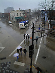 April showers on State Street in Madison, Wisconsin.