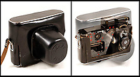 BNPS.co.uk (01202 558833)Pic: Astons/BNPS<br /> <br /> Cunning cased camera took sideways pictures unobtrusively.<br /> <br /> Cold War Collectables - Auction of Soviet spy camera's from behind the Iron Curtain reveal the KGB's cunning and ingenuity at the height of the Cold War.<br /> <br /> A fascinating collection of Russian spy cameras which were used clandestinely at the height of the Cold War have emerged for sale for &pound;60,000.<br /> <br /> The ingenious gadgets deployed by KGB operatives include cameras built into the sides of briefcases, buttons of jackets, umbrella handles and cigarette cases.<br /> <br /> The sale also features a clever 'Zenit' F-21 spy camera which shoots photos through the side of a camera case when it appears to be shut.<br /> <br /> There are also several 'Minox' cameras which are known as the 'James Bond' spy camera as one appeared in the film On Her Majesty's Secret Service (1969).