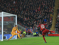 11th March 2020; Anfield, Liverpool, Merseyside, England; UEFA Champions League, Liverpool versus Atletico Madrid;  Atletico Madrid goalkeeper Jan Oblak saves a shot from Sadio Mane of Liverpool
