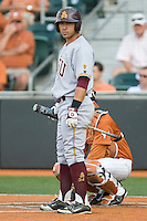 Arizona State Sun Devil third baseman Riccio Torrez #30 watches for a coaches sign against the Texas Longhorns in NCAA Tournament Super Regional baseball on June 10, 2011 at Disch Falk Field in Austin, Texas. (Photo by Andrew Woolley / Four Seam Images)