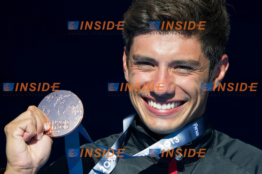 Jonathan Paredes MEX bronze medal<br /> Men's 27m competition<br /> High Diving<br /> 15th FINA World Aquatics Championships<br /> Barcelona 19 July - 4 August 2013<br /> Palau Sant Jordi, Barcelona (Spain) 31/07/2013 <br /> &copy; Giorgio Perottino / Deepbluemedia.eu / Insidefoto