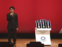 24th July 2020, Tokyo, Japan; Tokyo 2020 Olympic Medal designer Junichi Kawanishi speaks during the One Year to Go ceremony celebrating one year out from the start of the Tokyo 2020 Olympic Games