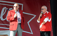 Barry Alvarez addresses the homecoming crowd on Saturday, October 12, 2013 in Madison, Wisconsin