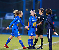 20191221 - WOLUWE: Gent's Alix Bosteel is comes out and Liesbeath Maes goes in  during the Belgian Women's National Division 1 match between FC Femina WS Woluwe A and KAA Gent B on 21st December 2019 at State Fallon, Woluwe, Belgium. PHOTO: SPORTPIX.BE | SEVIL OKTEM