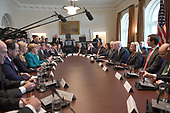 United States President Donald Trump speaks during a roundtable discussion on vocational training with German Chancellor Angela Merkel ((L) and United States and German business leaders in the Cabinet Room of the White House in Washington, DC on March 17, 2017.  <br /> Credit: Photo by Pat Benic / Pool via CNP