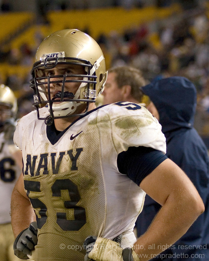 10 October 2007: Navy offensive tackle Josh Meek..The Navy Midshipmen beat the Pitt Panthers 48-45 in double overtime on October 10, 2007 at Heinz Field, Pittsburgh, Pennsylvania.
