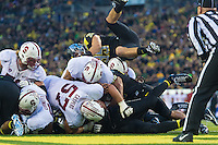 EUGENE, OR - NOVEMBER 1, 2014:  Patrick Skov scores a touchdown during Stanford's game against Oregon. The Ducks defeated the Cardinal 45-16.