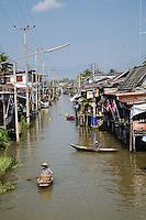 Boats in canal near Damnoen Saduak Floating Market, Damnoen Saduak, Thailand