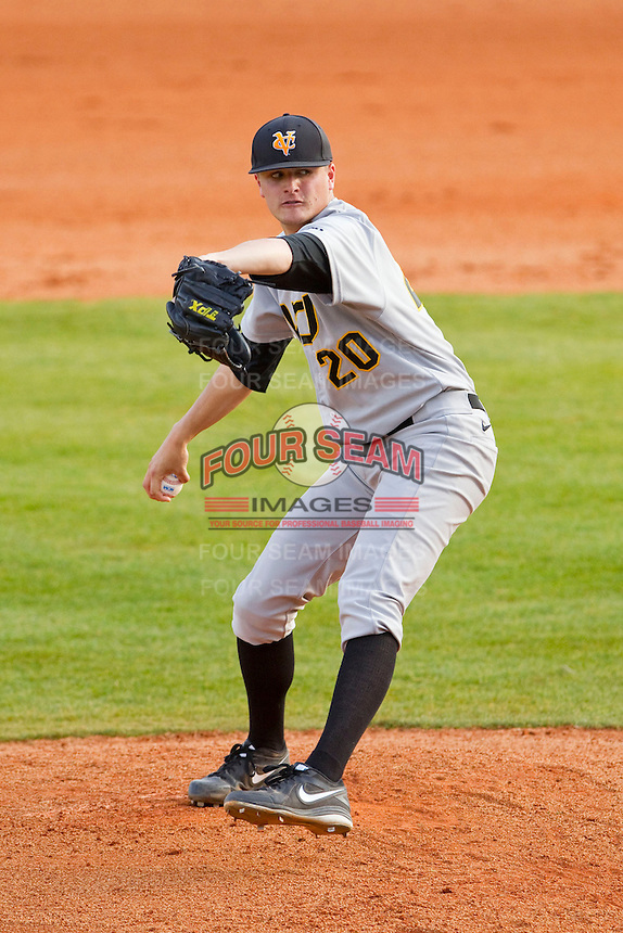 Virginia Commonwealth Rams starting pitcher Seth Greene (20) in action against the Charlotte 49ers at Robert and Mariam Hayes Stadium on March 30, 2013 in Charlotte, North Carolina.  The Rams defeated the 49ers 4-3 in game two of a double-header.  (Brian Westerholt/Four Seam Images)