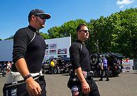 Jun 7, 2015; Englishtown, NJ, USA; NHRA top fuel driver Steve Torrence (right) with Shawn Langdon during the Summernationals at Old Bridge Township Raceway Park. Mandatory Credit: Mark J. Rebilas-