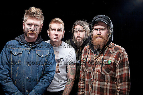 Mastodon - L-R: Bill Kelliher, Brann Dailor, Troy Sanders, Brent HInds - photographed at the Academy in Manchester UK - Feb 20, 2010.  Photo: © Ashley Maile/IconicPix  *HIGHER RATES APPLY*