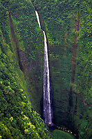 Aerial of Waipio Valley with waterfall, Big Island