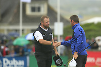 Shane Lowry (IRL) and Liam Johnston (SCO) finish on the 18th green during Saturday's Round 3 of the Dubai Duty Free Irish Open 2019, held at Lahinch Golf Club, Lahinch, Ireland. 6th July 2019.<br /> Picture: Eoin Clarke | Golffile<br /> <br /> <br /> All photos usage must carry mandatory copyright credit (© Golffile | Eoin Clarke)