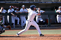CARY, NC - FEBRUARY 23: Parker Hendershot #9 of Penn State University hits the ball during a game between Wagner and Penn State at Coleman Field at USA Baseball National Training Complex on February 23, 2020 in Cary, North Carolina.
