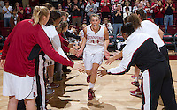Stanford's Joslyn Tinkle is being announced before that start of Saturday, November 25, 2012 game against Long Beach State at Stanford. Stanford won 77-41.