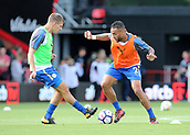 30th September 2017, Vitality Stadium, Bournemouth, England; EPL Premier League football, Bournemouth versus Leicester; Leicester's Danny Simpson and Marc Albrighton of Leicester warm up before kick off