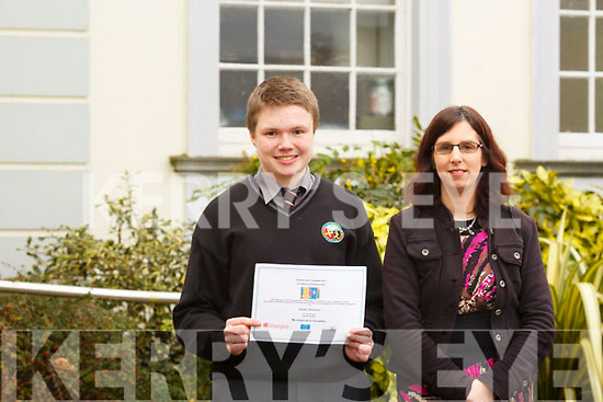 Ciaran O'Donnchu from Blennerville, a student in the Gaelcholáiste Chiarraí who won a national translating competition and the money won will bring several students to France on a trip, with his teacher, Honor Nic Gloinn.