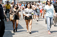 A very pregnant Snooki pictured with Deena and  J WoWW on the boardwalk during filming of the last day before the cast leaves for good on The Jersey Shore Show season six in Seaside Heights, New Jersey on July 4, 2012  &copy; Star Shooter / MediaPunchInc *NORTEPHOTO*<br />