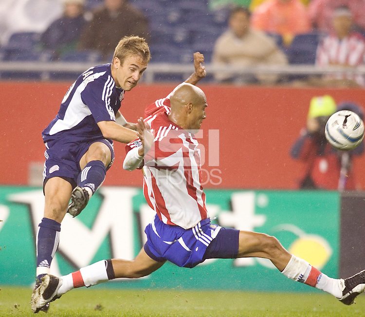 Douglas Sequeira blocks Taylor Twellman's shot. New England Revolution defeat CD Chivas USA, 1-0 at Gillette Stadium on April 30, 2005.