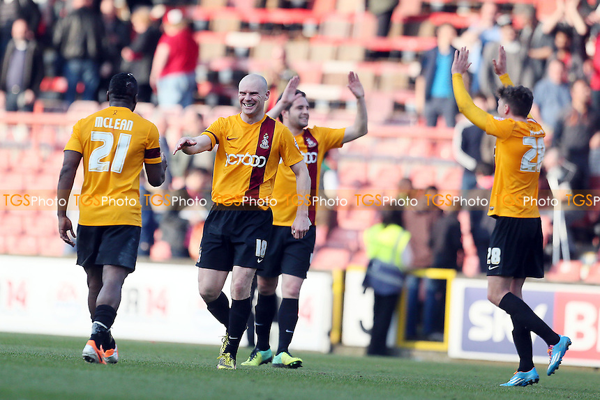 Citys Capt Gary Jones at the end with the Bradford players<br /> Leyton Orient v Bradford City - SkyBet League One Football at the Matchroom Stadium Leyton London 29/03/14 - MANDATORY CREDIT SIMON O'CONNOR -Self Billing applies where appropiate