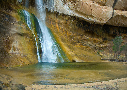 THE LOWER FALLS OF CALF CREEK APPPEAR IN AN ALCOVE ALONG CALF CREEK IN THE GRAND STAIRCASE ESCALANTE NATIONAL MONUMENT