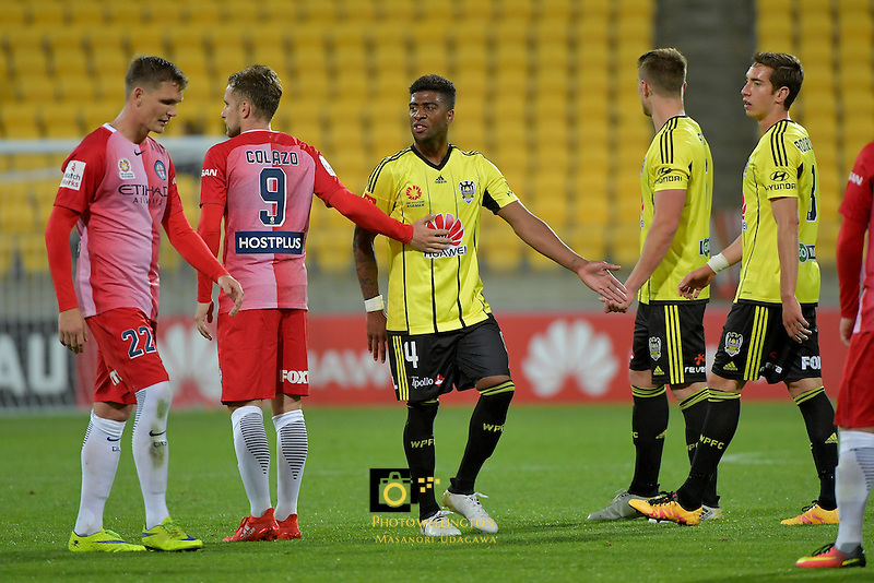 Wellington Phoenix&rsquo;  Rolieny Bonevacia in action during the A League - Wellington Phoenix v Melbourne City FC at Westpac Stadium, Wellington, New Zealand on Saturday 8 October 2016.<br /> Photo by Masanori Udagawa. <br /> www.photowellington.photoshelter.com.