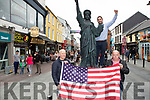 Ollie Favier centre with Diarmuid Leen left and Dermot Healy getting Killarney decorated for the 4th July celebrations on Monday evening