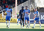 06.10.18 Dundee v Kilmarnock: Aaron Tshibola grabs the ball to take the penalty after Chris Burke was fouled but Greg Stewart has other ideas