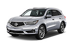 2017 Acura MDX Sport Hybrid SH-AWD Advance Package 5 Door SUV angular front stock photos of front three quarter view