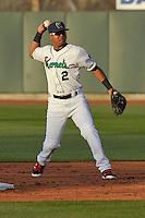 Cedar Rapids Kernels Luis Arraez (2) throws to first base during the game against the Clinton LumberKings at Veterans Memorial Stadium on April 14, 2016 in Cedar Rapids, Iowa.  The Kernels won 7-3. (Dennis Hubbard/Four Seam Images)