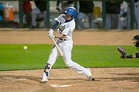Rancho Cucamonga Quakes  Jeren Kendall (3) in action against the Inland Empire 66ers at LoanMart Field on April 12, 2018 in Rancho Cucamonga, California. The 66ers defeated the Quakes 5-4.  (Donn Parris/Four Seam Images)