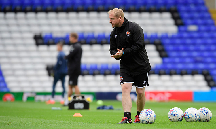 Blackpool's first team coach Ian Dawes during the pre-match warm-up<br /> <br /> Photographer Chris Vaughan/CameraSport<br /> <br /> The EFL Sky Bet League One - Coventry City v Blackpool - Saturday 7th September 2019 - St Andrew's - Birmingham<br /> <br /> World Copyright © 2019 CameraSport. All rights reserved. 43 Linden Ave. Countesthorpe. Leicester. England. LE8 5PG - Tel: +44 (0) 116 277 4147 - admin@camerasport.com - www.camerasport.com
