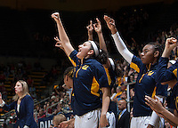 Hind Ben Abdelkader of California and her teammates celebrate from the bench during the game against Stanford at Haas Pavilion in Berkeley, California on February 2nd 2014.   Stanford defeated California, 79-64.