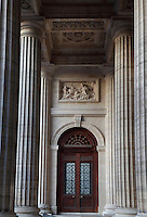 Virtue, haut-relief, 1732, by Giovanni Niccolo Servandoni, 1695-1755, Porch of facade, Eglise Saint-Sulpice (St Sulpitius' Church), c.1646-1745, late Baroque church on the Left Bank, Paris, France. Picture by Manuel Cohen