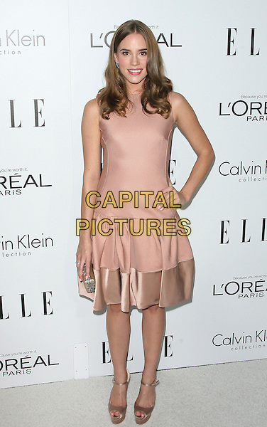 Christa B. Allen.ELLE's 19th Annual Women In Hollywood Celebration held at Four Seasons Hotel, Beverly Hills, California, USA..October 15th, 2012.full length dress  pink sleeveless silk satin trim hand on hip.CAP/ADM.©AdMedia/Capital Pictures.