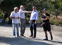 Pictured: Eddie Needham (L), the grandfather of missing Ben Needham with DI Jon Cousins of South Yorkshire Police (2nd L) and other officers in Kos, Greece. Wednesday 05 October 2016<br /> Re: Police teams led by South Yorkshire Police, searching for missing toddler Ben Needham on the Greek island of Kos have moved to a new area in the field they are searching.<br /> Ben, from Sheffield, was 21 months old when he disappeared on 24 July 1991 during a family holiday.<br /> Digging has begun at a new site after a fresh line of inquiry suggested he could have been crushed by a digger.