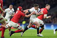 George Ford of England takes on the Wales defence. Natwest 6 Nations match between England and Wales on February 10, 2018 at Twickenham Stadium in London, England. Photo by: Patrick Khachfe / Onside Images
