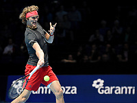Alexander Zverev (GER) in action against Marin Cilic (CRO) in their Group Guga Kuerten match<br /> <br /> Photographer Hannah Fountain/CameraSport<br /> <br /> International Tennis - Nitto ATP World Tour Finals Day 2 - O2 Arena - London - Monday 12th November 2018<br /> <br /> World Copyright &copy; 2018 CameraSport. All rights reserved. 43 Linden Ave. Countesthorpe. Leicester. England. LE8 5PG - Tel: +44 (0) 116 277 4147 - admin@camerasport.com - www.camerasport.com