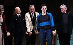 "Mercedes Ruehl, Richie Jackson, Moises Kaufman, Michael Urie and Harvey Fierstein  during the Broadway Opening Night Curtain Call for ""Torch Song"" at the Hayes Theater on November 1, 2018 in New York City."