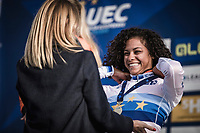 Podium with Women's U23 race winner and European Champion 2018  Ceylin Del Carmen Alvarado (NED) receiving the gold medal. <br /> <br /> <br /> UEC CYCLO-CROSS EUROPEAN CHAMPIONSHIPS 2018<br /> 's-Hertogenbosch – The Netherlands<br /> Women's U23 Race