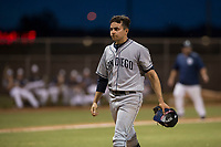 AZL Padres 1 starting pitcher Omar Cruz (10) walks off the field between innings of an Arizona League game against the AZL Padres 2 at Peoria Sports Complex on July 14, 2018 in Peoria, Arizona. The AZL Padres 1 defeated the AZL Padres 2 4-0. (Zachary Lucy/Four Seam Images)