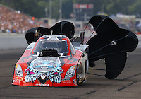 Aug 16, 2014; Brainerd, MN, USA; NHRA funny car driver Chad Head during qualifying for the Lucas Oil Nationals at Brainerd International Raceway. Mandatory Credit: Mark J. Rebilas-