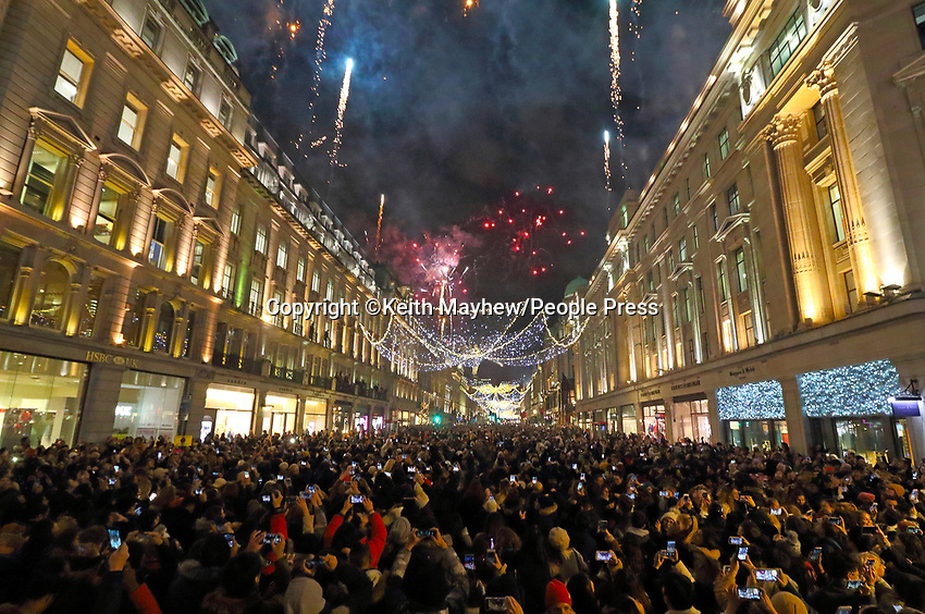 London's Regent Street, has it's annual Christmas Lights Switch On Event. Regent Street, London on November 14th 2019<br /> <br /> Photo by Keith Mayhew