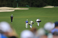 Rafa Cabrera Bello (ESP) and Francesco Molinari (ITA) on the 3rd fairway during the 2nd round at the The Masters , Augusta National, Augusta, Georgia, USA. 12/04/2019.<br /> Picture Fran Caffrey / Golffile.ie<br /> <br /> All photo usage must carry mandatory copyright credit (© Golffile | Fran Caffrey)