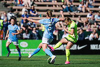 Seattle, WA - Sunday, April 17, 2016:  Seattle Reign FC midfielder Merritt Mathias (9) takes a shot during the first half of the match at Memorial Stadium. Sky Blue FC defeated the Seattle Reign FC 2-1 during a National Women's Soccer League (NWSL) match at Memorial Stadium.