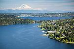 aerial photo of Lake Washington, Seattle's Seward Park, and Mount Rainier