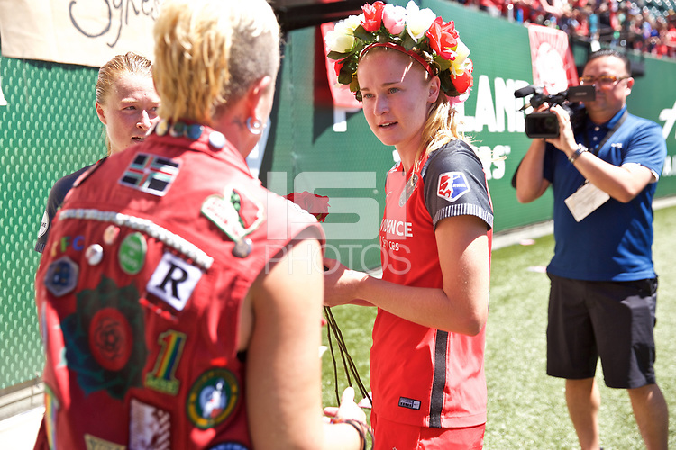 Portland, OR - Saturday August 05, 2017: Tyler Lussi after a regular season National Women's Soccer League (NWSL) match between the Portland Thorns FC and the Houston Dash at Providence Park.