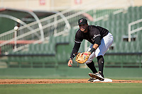 Kannapolis Intimidators first baseman Brandon Dulin (31) waits for a throw during the game against the Hagerstown Suns at Kannapolis Intimidators Stadium on June 15, 2017 in Kannapolis, North Carolina.  The Intimidators walked-off the Suns 5-4 in game one of a double-header.  (Brian Westerholt/Four Seam Images)